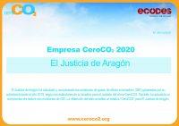 Diploma Entidad CeroCO2_2020_El Justicia de Aragón